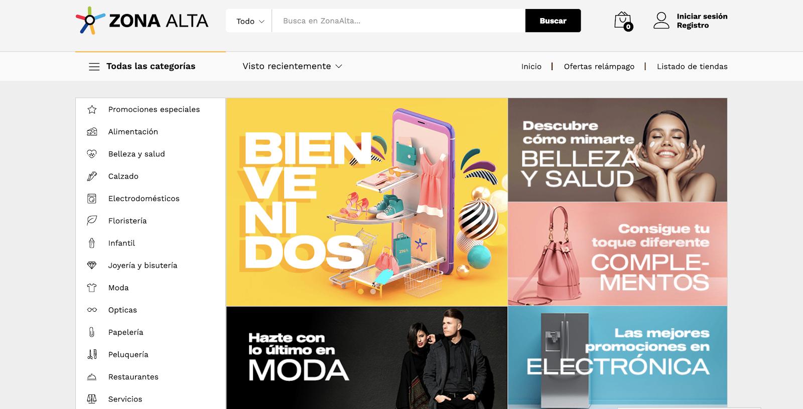 captura de pantalla del market place de la Zona Alta de Lleida