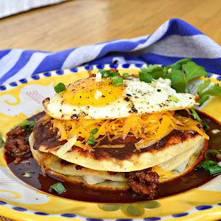 Red Chile Breakfast Enchiladas with Chorizo and Cheese