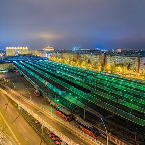 Gara de Nord Bucuresti, Romania by Baltă Mihai - Buildings & Architecture Public & Historical ( bucharest, rail station, railway, romania, night, long exposure, city )
