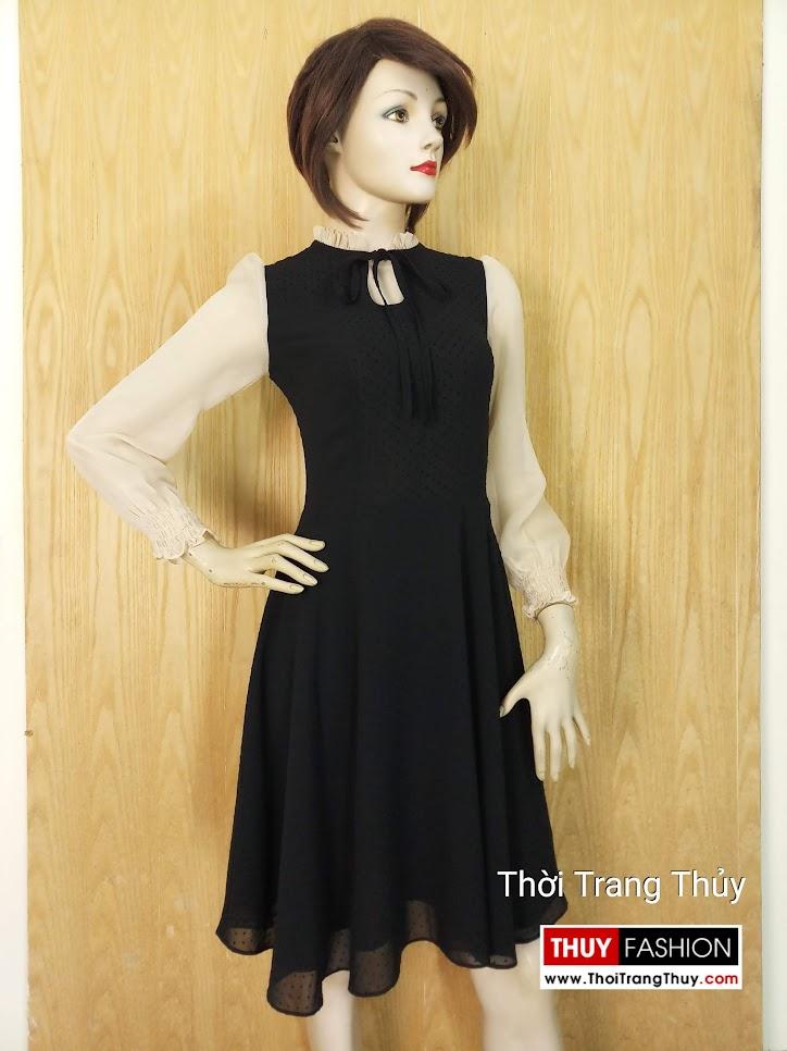 Váy xòe liền qua gối dài tay vải voan V652 Hải Phòng