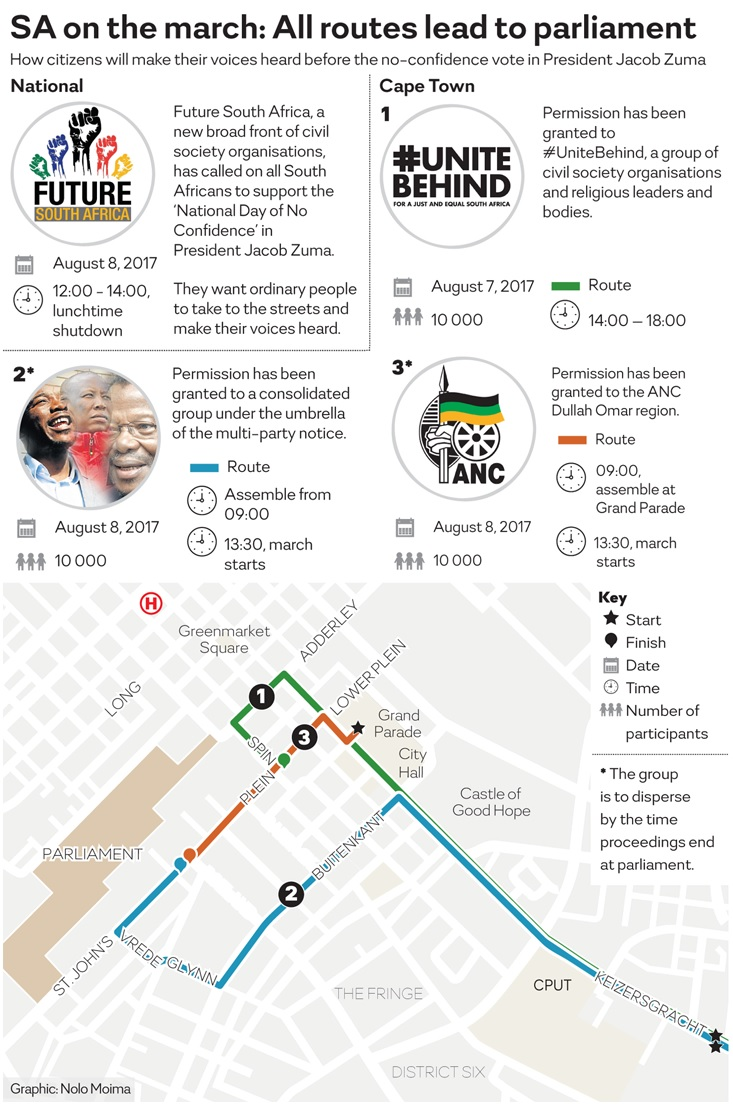 The routes that will be taken as marchers take the streets over the opposition's eighth vote of no confidence in President Jacob Zuma.