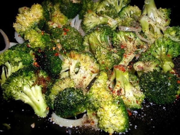 Stir in salt, pepper and red pepper flakes. Add broth and simmer until broccoli...