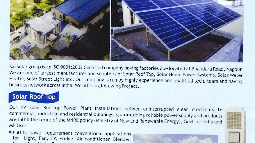 Sai Solar, Solar Panels, Solar Water Heater, Rooftop Solar System