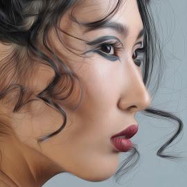 Portrait of women  by Tsatsralt Erdenebileg - Digital Art People ( digital art, portrait of women, oil art, digital painting, women )