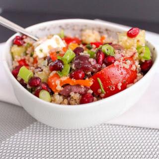 Quinoa Pomegranate Bowl with Greek Vinaigrette.