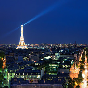 Eiffel Tower from the Arc de Triomphe by Brandon Rechten - Buildings & Architecture Statues & Monuments ( eiffel tower, paris, arc de triomphe, france )