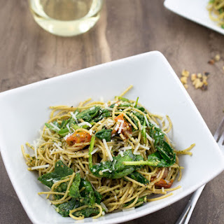 Pesto Pasta with, roasted tomatoes and wilted greens