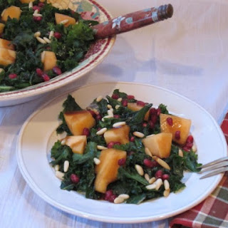 Kale Salad with Cantaloupe and Pomegranate.