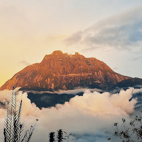 Mount Kinabalu by Lydelter  Bolodin  - Landscapes Mountains & Hills ( sky, nature, countryside, asia, hiking, clouds, orange, outdoor, cloudy, mountain, mother nature, blue, golden hour, sunset, landscape, borneo )