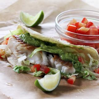 Fish Tacos with Creamy Avocado Salsa