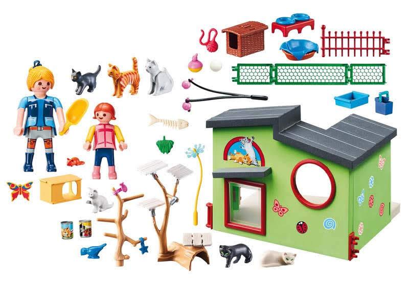 Contenido real de Playmobil® 9276 Refugio para Gatos