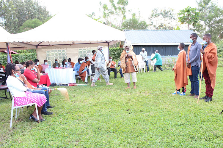 A group of initiates being graduated into adulthood at Sagana in Kirinyaga county on Saturday.