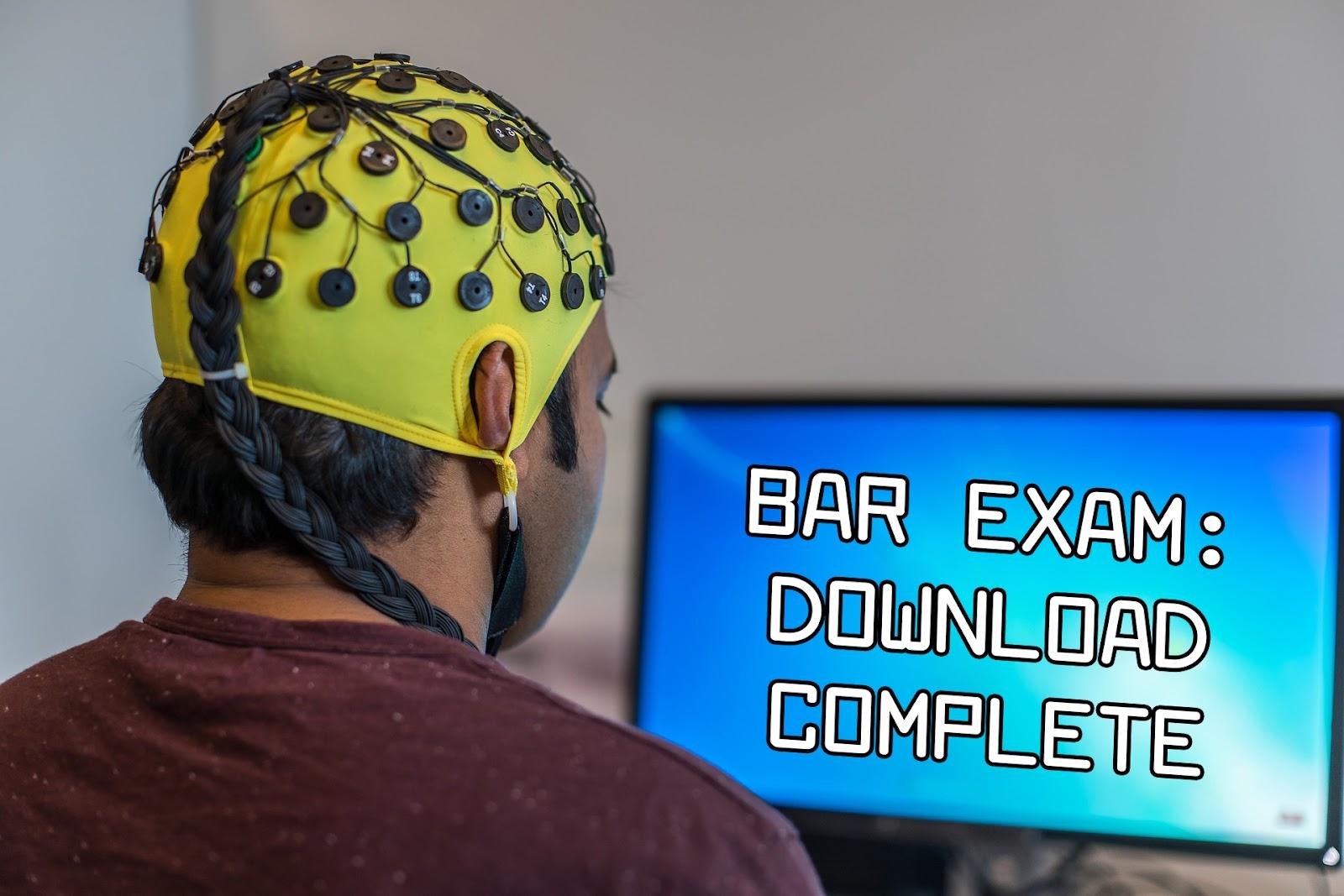 Man downloading bar exam material to his brain