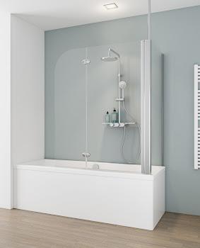 Badewannenfaltwand, 2-teilig mit Seitenwand und Deckenstrebe