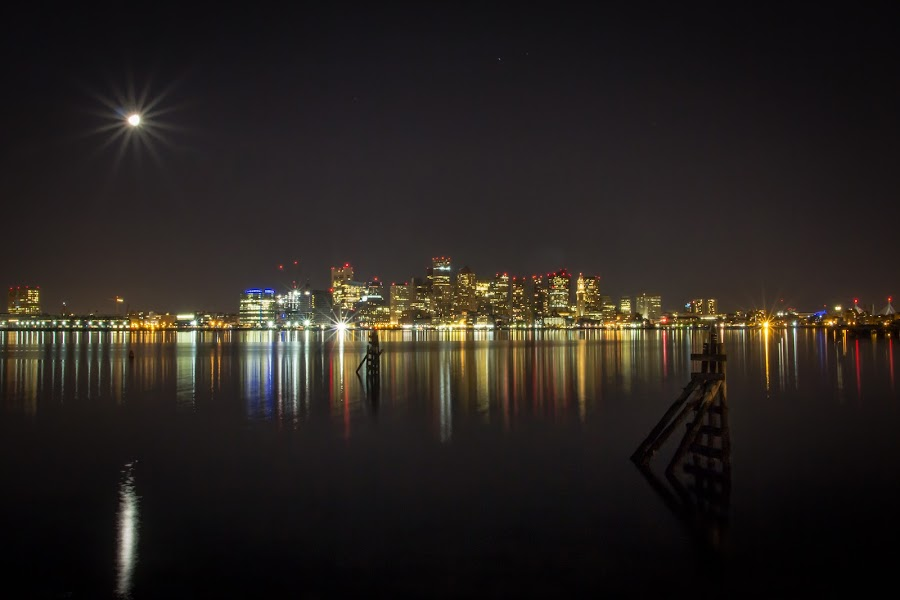 Boston Harbor Full Moon City  by Joe Martin - City,  Street & Park  Skylines ( lights, water, boston, joe martin, buildings, harnor, 2011, moon city scape, city )