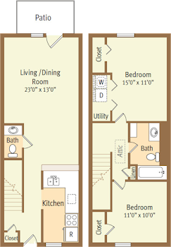 Go to Two Bed, 1.5 Bath Townhouse Floorplan page.