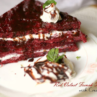 Red Velvet French Toast stuffed with Cream Cheese