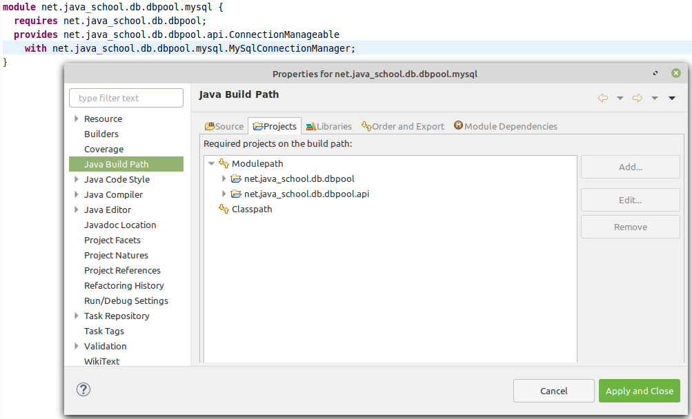 net.java_school.db.dbpool.mysql module Java Build Path