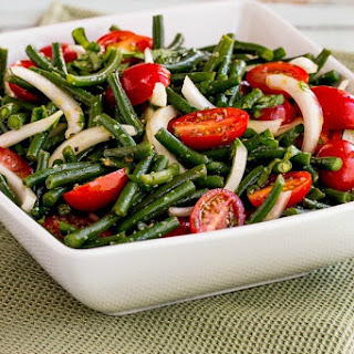 Green Bean, Tomato, Onion, and Basil Summer Salad.