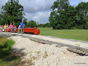 Photo: Randy Neville passing by the washed out track.   HALS Public Run Day  2016-0716  RPWhite