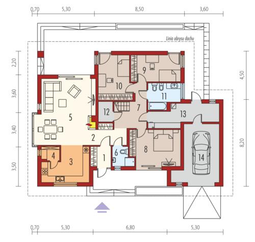 Flori III G1 (wersja B) Leca® Dom - Rzut parteru