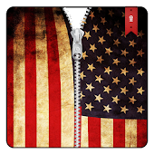 USA Flag Zipper Lock Screen