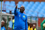Pitso Mosimane of Mamelodi Sundowns during the Absa Premiership match between Mamelodi Sundowns and Chippa United at Loftus Versfeld Stadium on April 23, 2019 in Pretoria, South Africa.