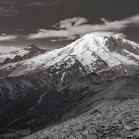 Mount Rainier by Dale Slater - Black & White Landscapes ( mountain, nature, rocks, snowy volcano, hiking )