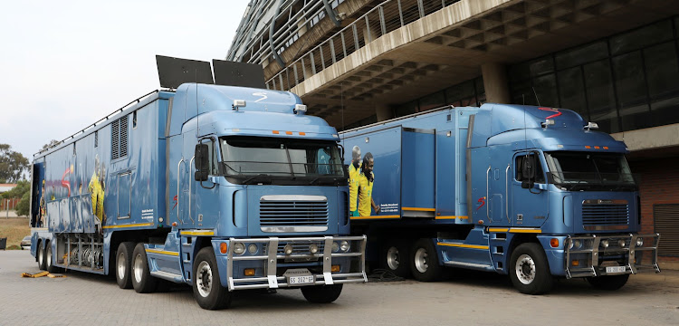 SuperSport outside broadcast trucks during the Absa Premiership 2017/18 match between Orlando Pirates and Golden Arrows at Orlando Stadium, Soweto South Africa on 21 November 2017.