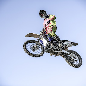 I'm looking at you by Sabin Malisevschi - Sports & Fitness Motorsports ( looking, rider, bike, camera, motorcycle, stunt, standing )