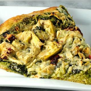 Artichoke and Spinach Pesto Pizza [Vegan]