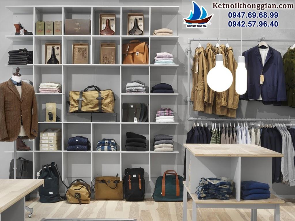 thiết kế cửa hàng thời trang nam với gam màu phù hợp