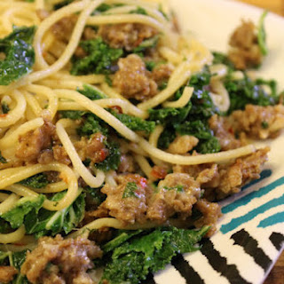 Spaghetti with Kale and Sausage.