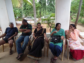 Photo: Doc Jimmy, Singappa Raja, a pensive former first lady Viji, Sudha and Kokiben