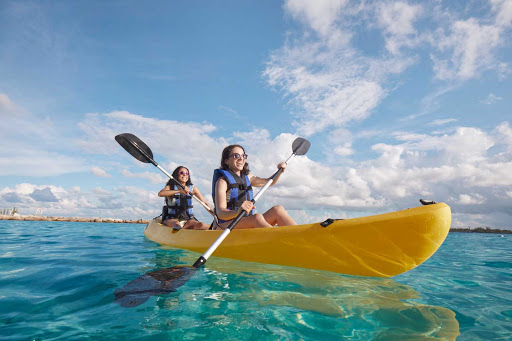 Explore a tropical bay with an easy kayak outing during your Carnival cruise.