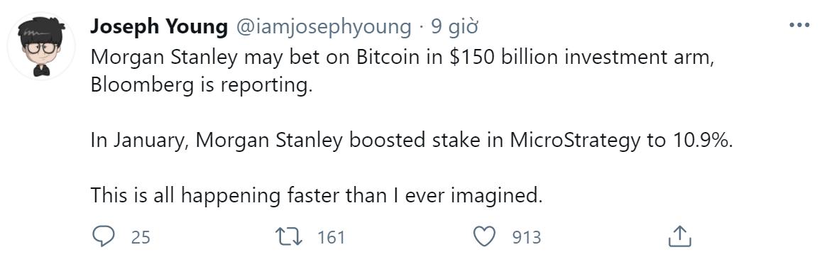hình ảnh CxWVL4 3SxFhBeF0kzgsp LsACjUQdKFF1Die1n44zXgSh9mVyxl0wJIkjj9 Morgan Stanley dự tính đầu tư 150 tỷ đô vào Bitcoin
