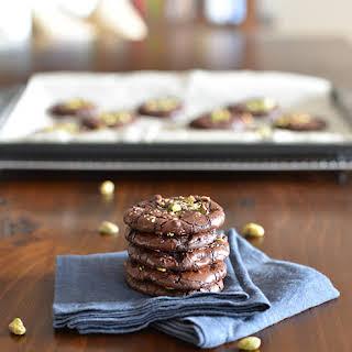 Dark Chocolate Pistachio Crackle Cookies.
