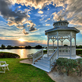 Sunrise at the Gazebo by Tim Azar - Buildings & Architecture Other Exteriors ( tim azar, florida keys, photomatix pro 4, ocean, architecture, landscape, sun, sky, florida, cloudy, clouds, water, hdr, grass, green, nik dfine, white, duck key, chair, blue, sunset, summer, 3 exposures, sunrise, gazebo )