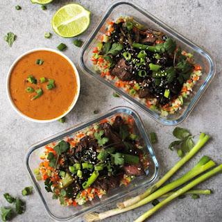 Meal Prep Vietnamese Beef and Riced Veggies.