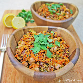 Curried Quinoa and Chickpea Salad with Carrots, Apples & Raisins.