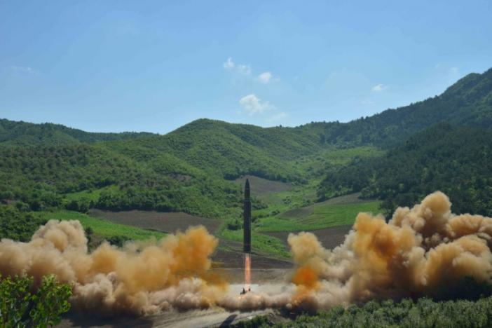 The intercontinental ballistic missile Hwasong-14 is seen during its test launch in this undated photo released by North Korea's Korean Central News Agency. KCNA/via REUTERS