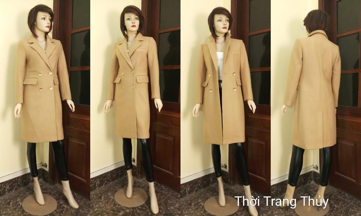 Áo khoác dạ nữ dáng dài màu lạc đà V665 thời trang thủy