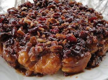 Cran-Cherry Caramel Bacon Upside-Down Biscuit Cake with Marmalade Mascarpone Topping