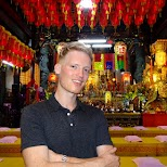 visiting a little temple at the Shilin night market in Taipei in Taipei, T'ai-pei county, Taiwan