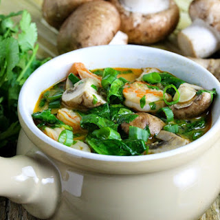 Thai Style Shrimp and Noodle Curry Soup.
