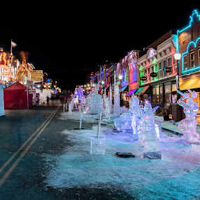 Cripple Creek Ice Festival by Sean Markus - City,  Street & Park  Night ( cripple creek, city street, cripple creek ice festival, ice sculptures, colorado, architecture )