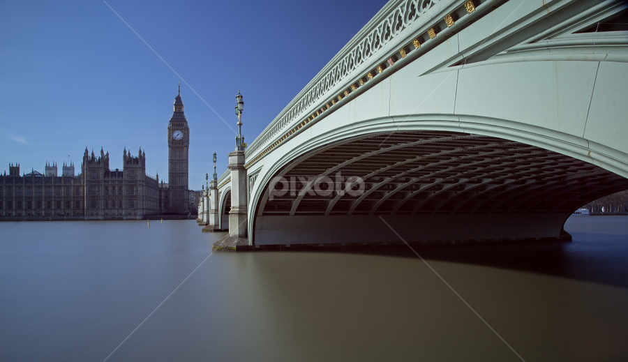Calm waters by Ray Beauchamp - Buildings & Architecture Bridges & Suspended Structures ( elizebeth tower, uk, london, ten stopper, westminster bridge, long exposure, big ben, houses of parliament, river thames,  )