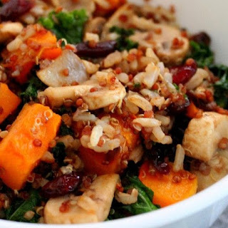 Brown Rice-Quinoa Pilaf with Butternut, Mushrooms & Kale Recipe