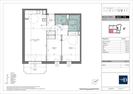 Vente appartement 3 pièces 63,27 m2