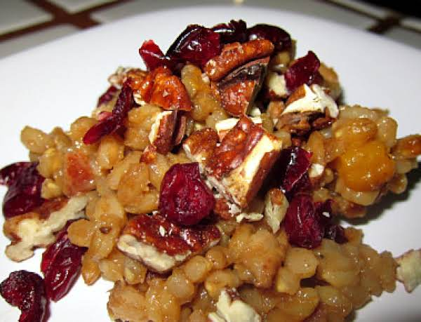 Farro Risotto With Squash, Cranberries And Pecans